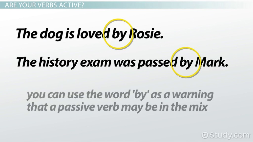 Active Verbs: Definition U0026 Examples   Video U0026 Lesson Transcript | Study.com  Action Verbs