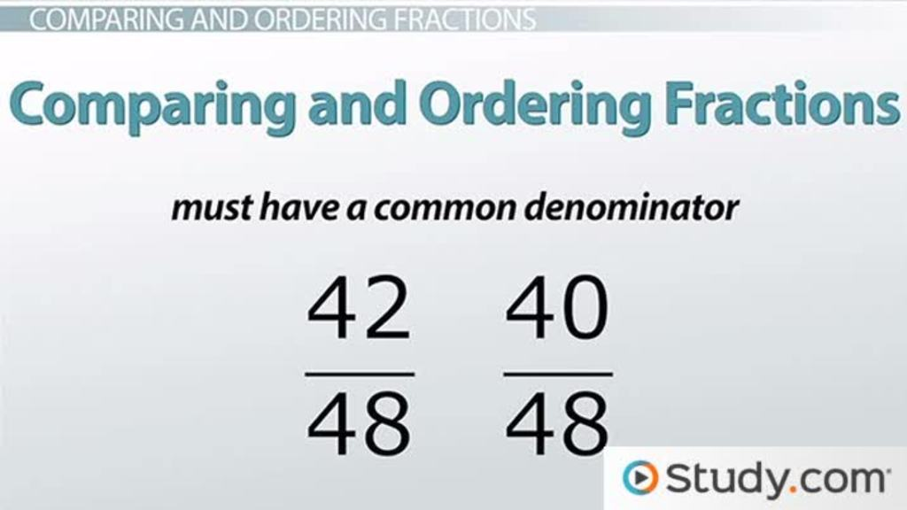 comparing and ordering fractions video lesson transcript. Black Bedroom Furniture Sets. Home Design Ideas