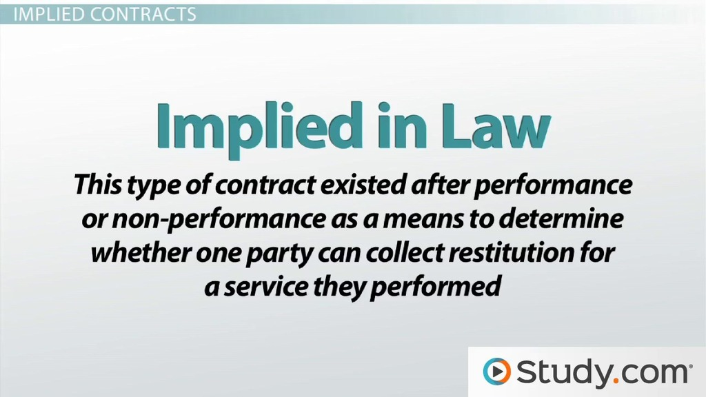 Expressed Vs. Implied Contracts: Differences & Examples - Video