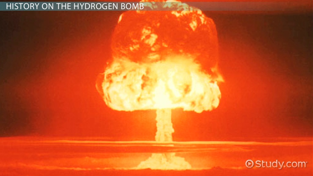 a description of the development in the hydrogen bomb In a typical hydrogen bomb, the detonation of a fission bomb compresses and heats a core of lithium deuteride, lithium combined with the hydrogen isotope deuterium the neutrons emitted by the .