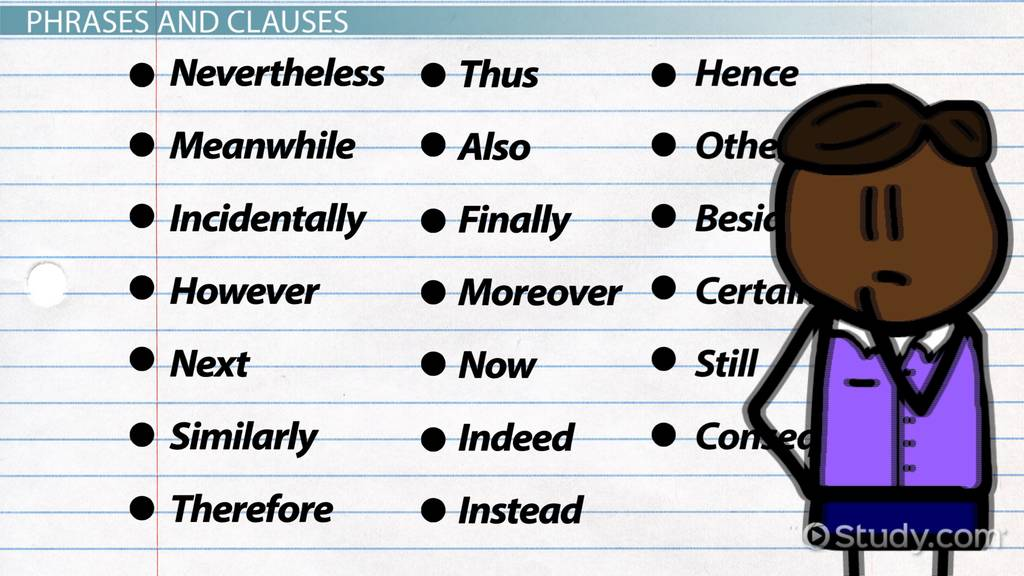 Conjunctive Adverb Examples Overview Video Lesson Transcript