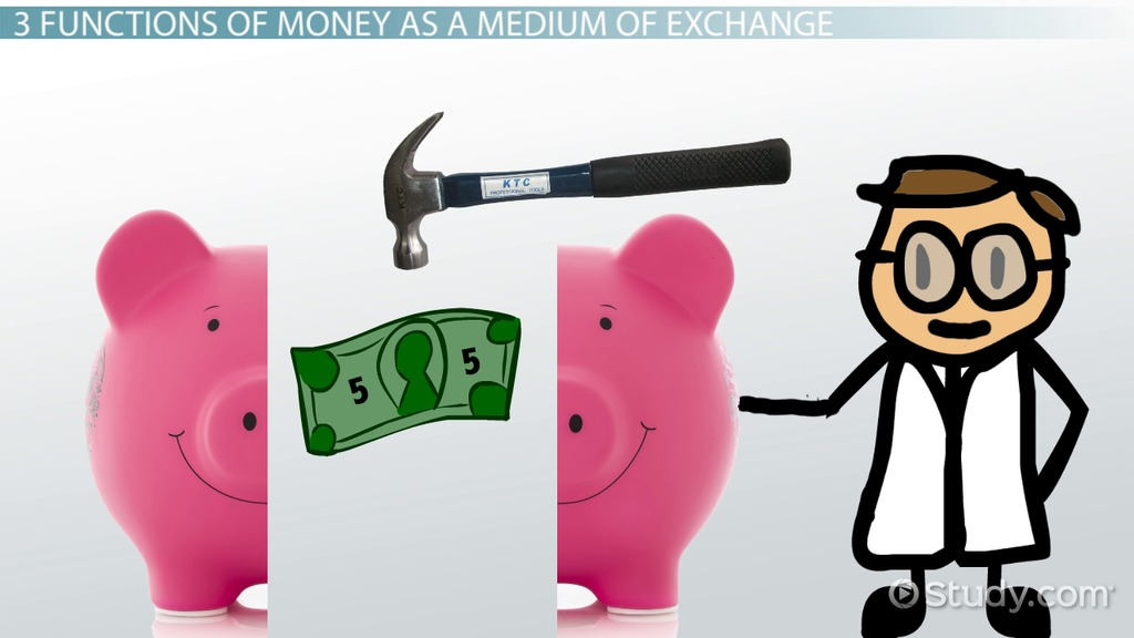 money as a means of exchange Definition of money: anything of value that serves as a (1) generally accepted medium of financial exchange, (2) legal tender for repayment of debt, (3) standard of value, (4) unit of accounting measure, and (5) means to.