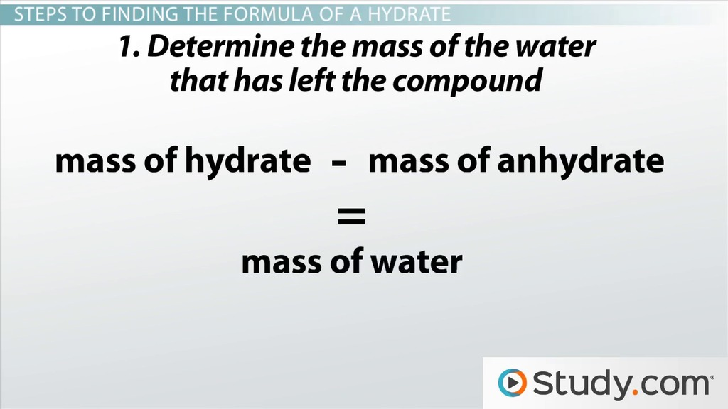Hydrates Determining the Chemical Formula From Empirical Data – Gram Formula Mass Worksheet