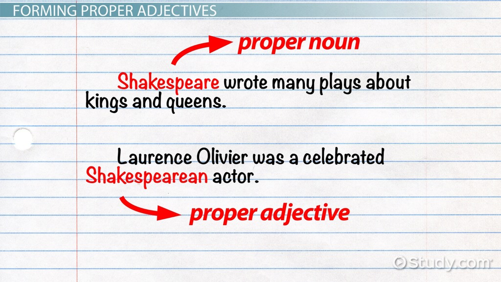What Are Proper Adjectives Definition Examples Video Lesson