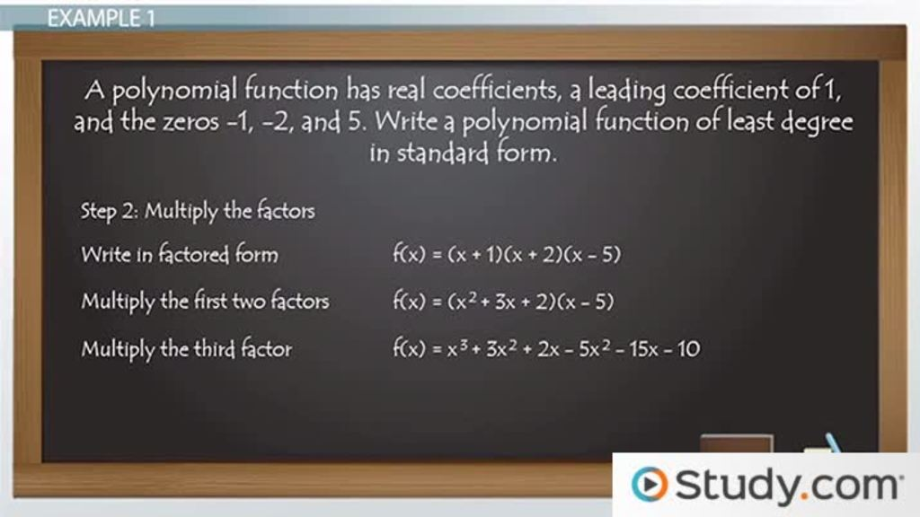 Using Rational & Complex Zeros to Write Polynomial Equations - Video ...