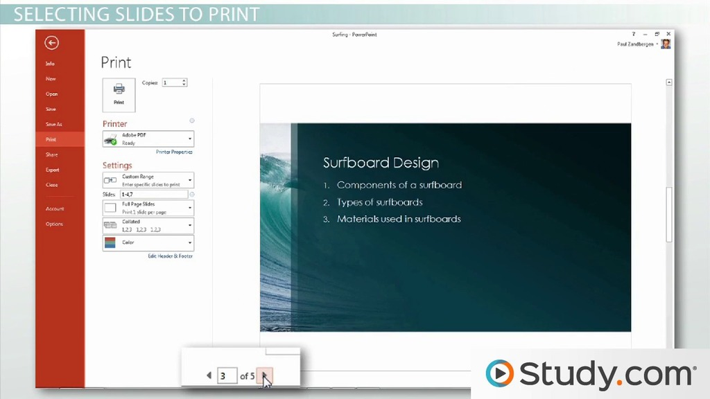Printing In Powerpoint Handouts Selections And Notes  Video