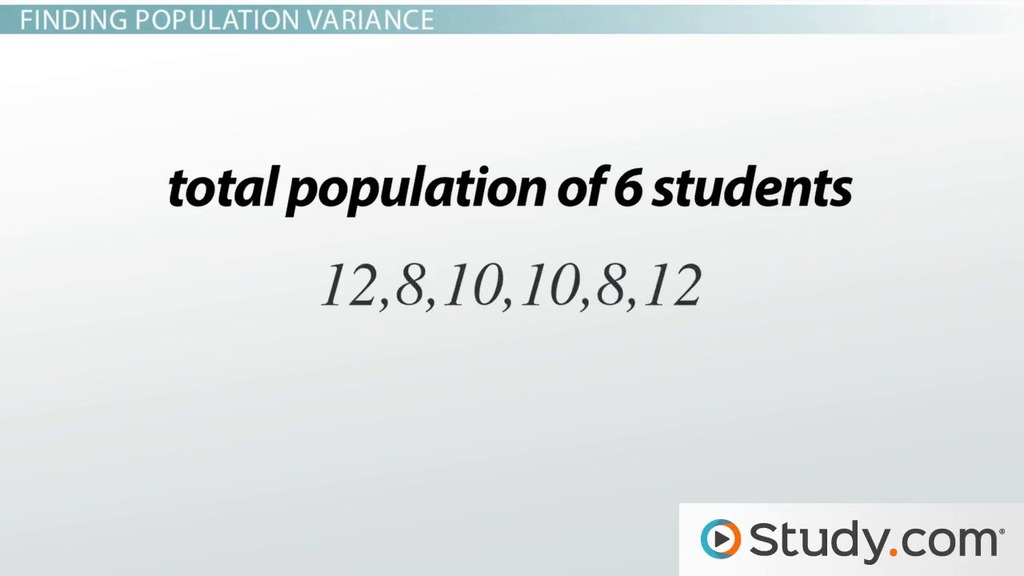 Population & Sample Variance: Definition, Formula & Examples - Video ...