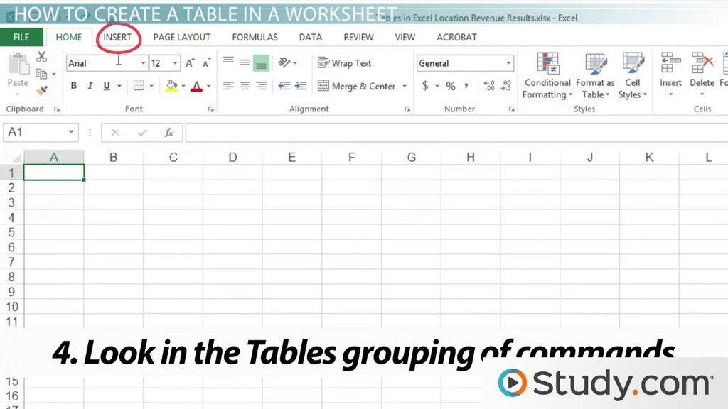 How to Create a Table in an Excel Worksheet - Video & Lesson ...