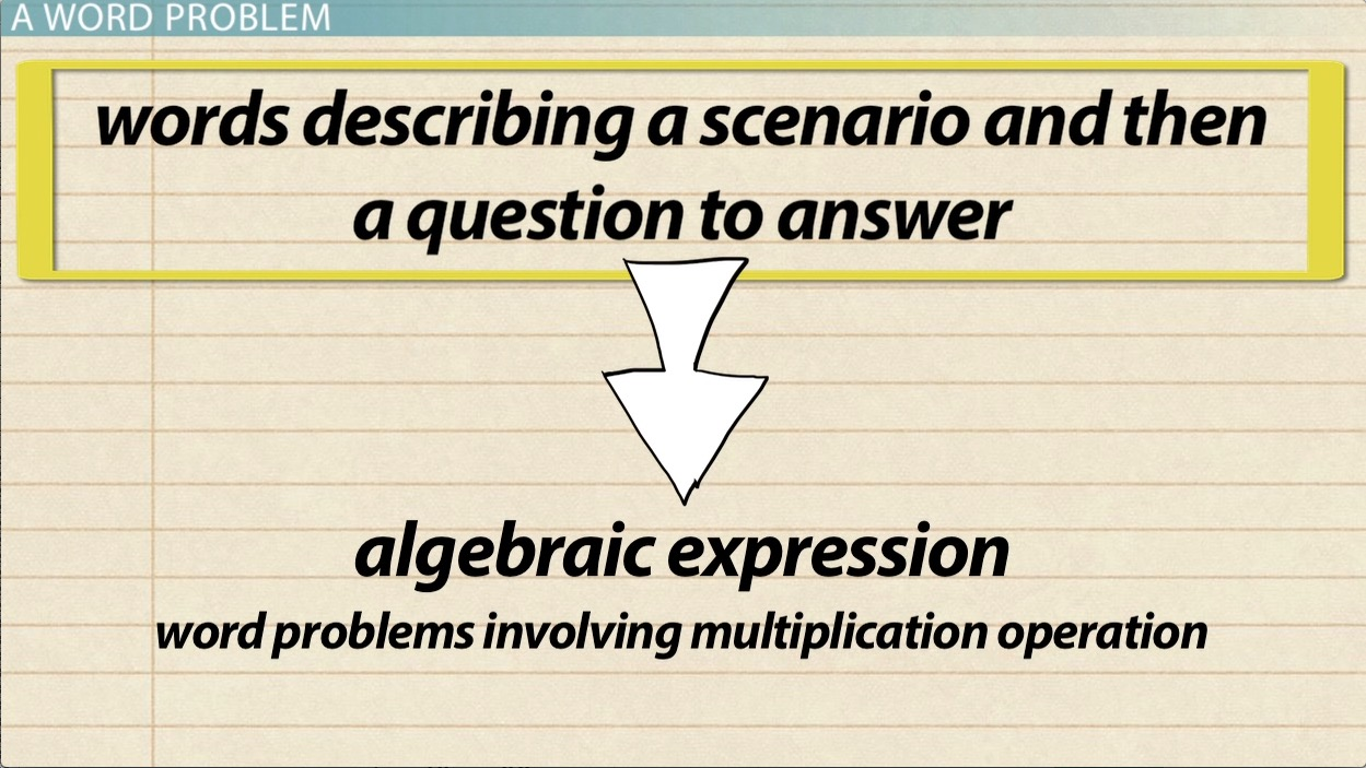 Solving word problems with algebraic subtraction expressions video solving word problems with algebraic multiplication expressions fandeluxe Choice Image