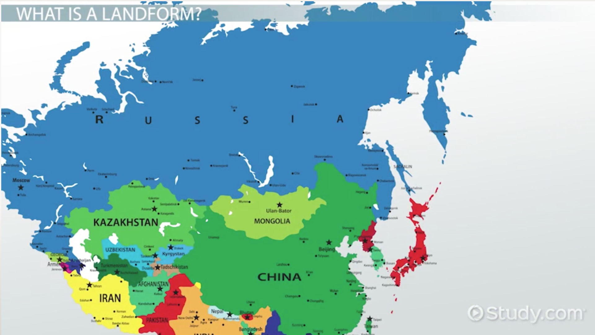 Major Landforms of Russia Central Asia Video Lesson