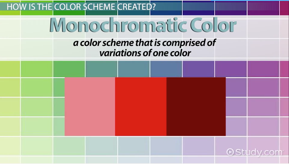 Monochromatic Color Scheme Definition monochromatic color: definition, schemes & examples - video