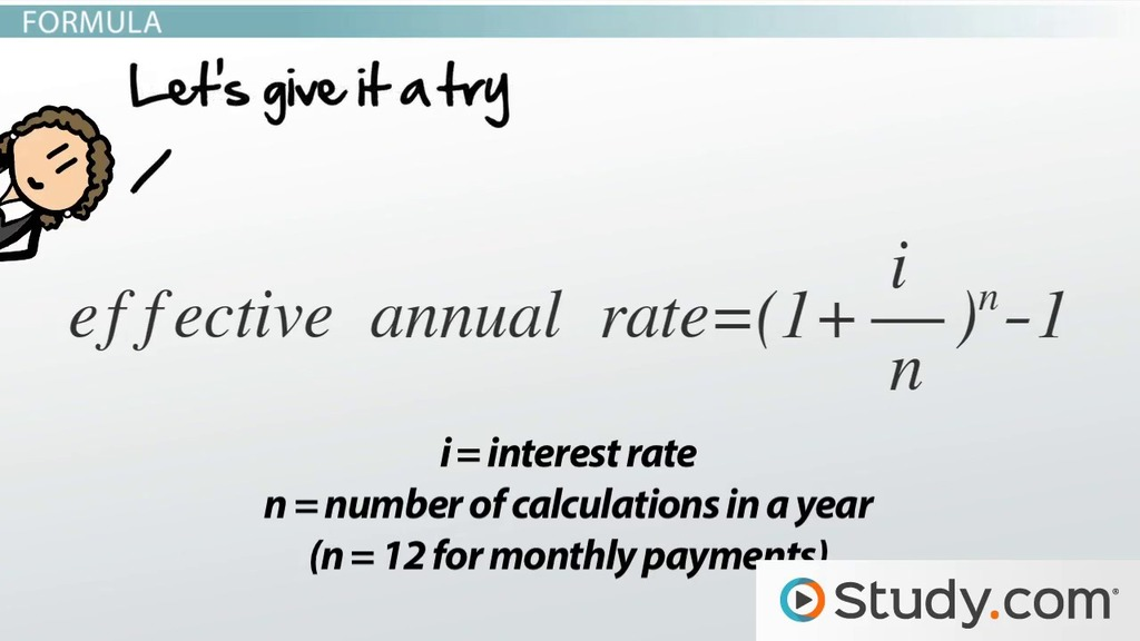 Effective Annual Rate: Formula & Calculations - Video & Lesson ...