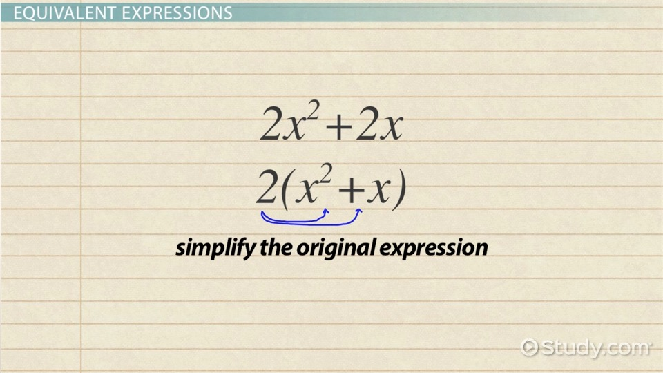 Writing Equivalent Expressions Definition Examples Video