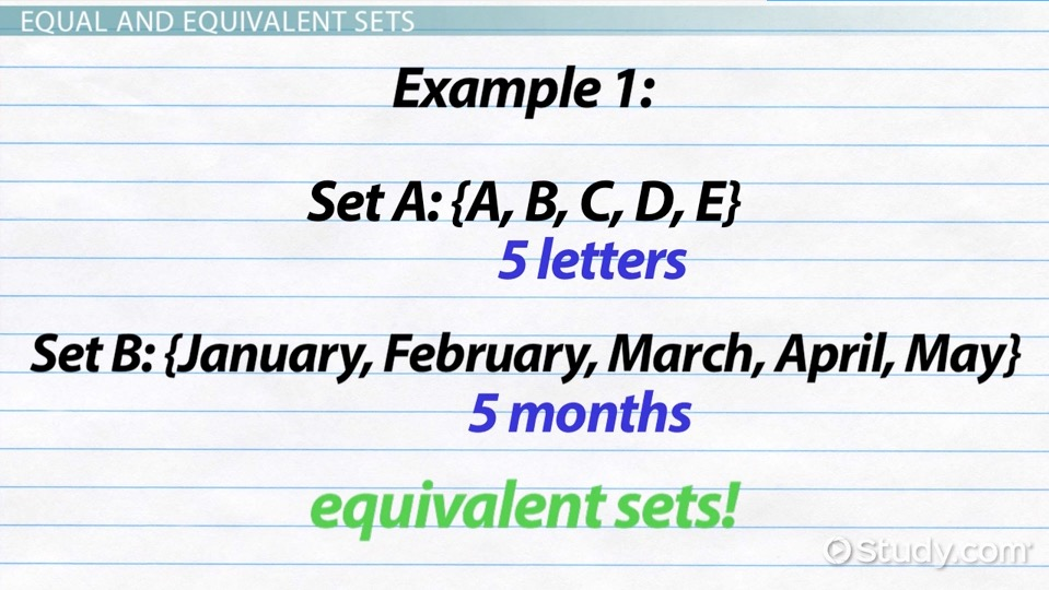 Equivalent Sets: Definition & Example - Video & Lesson Transcript ...