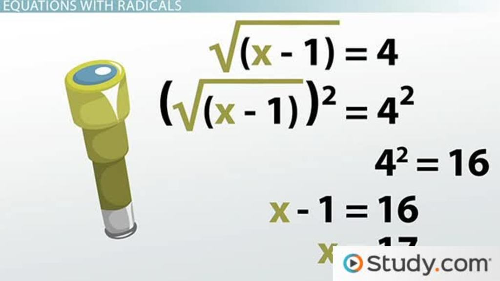Solving Radical Equations Steps and Examples Video Lesson – Solving Radical Equations Worksheet with Answers