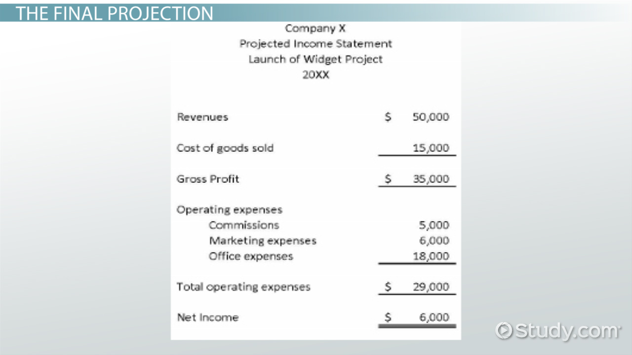 projected income  example  u0026 explanation