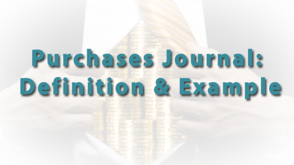 Purchases Journal Definition Example