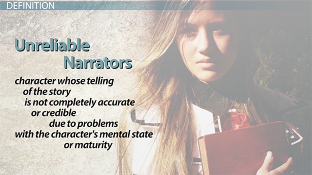 the unreliable narrator A narrator is a person or character who tells a story, or a voice fashioned by an author to recount a narrative.